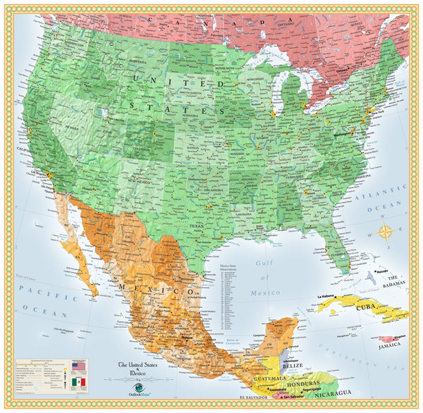 USA and Mexico Wall Map