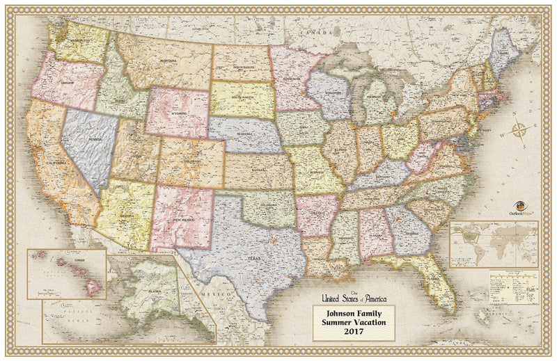 Personalized Antique Style USA Wall Map