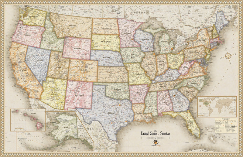Antique Style USA Wall Map