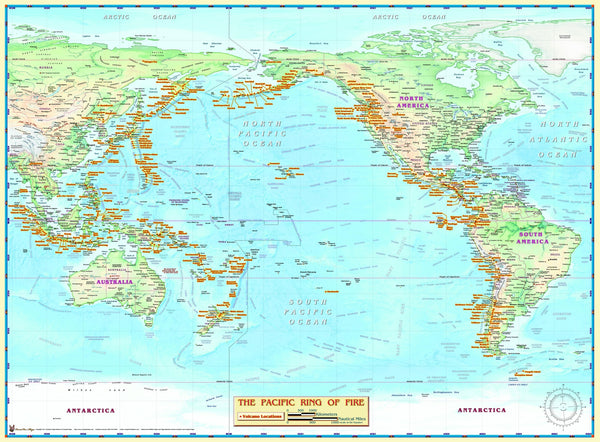 Ring of Fire Pacific Ocean Wall Map