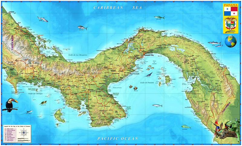 Panama Wall Map by Compart maps