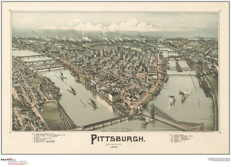 Pittsburgh Antique Wall Map