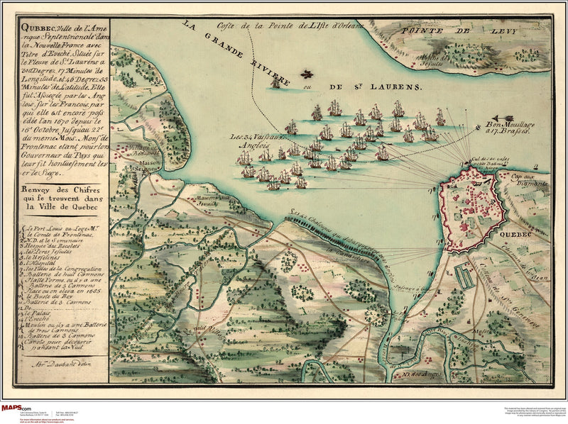 Quebec Antique Wall Map