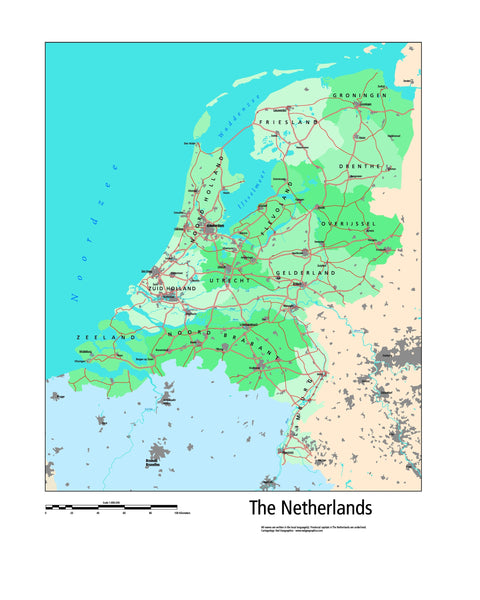 Netherlands Wall Map by Red Graphics
