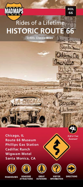 Rides of a Lifetime Road Trip Map Route 66
