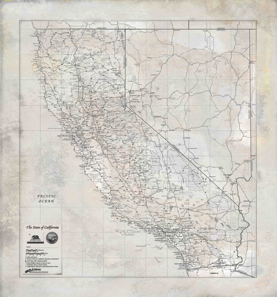 Rustic California Wall Map