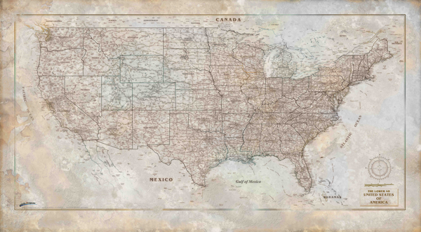 Rustic USA Wall Map