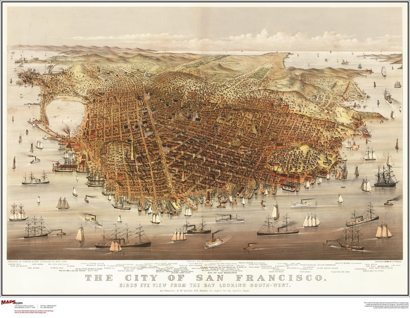 San Francisco Antique Wall Map