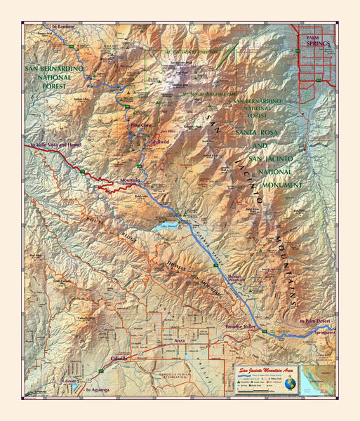 San Jacinto Mountains Wall Map