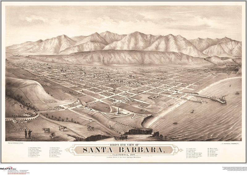 Santa Barbara Antique Wall Map