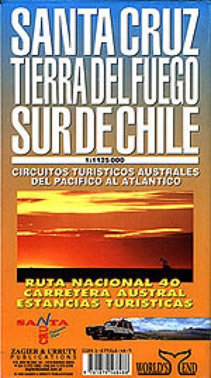 Santa Cruz Tierra del Fuego, Argentina and Southern Chile Travel Map