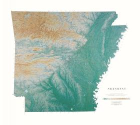 Arkansas, Physical, Laminated Wall Map by Raven Maps