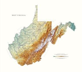 West Virginia, Physical Wall Map by Raven Maps