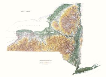 New York, Physical Wall Map by Raven Maps