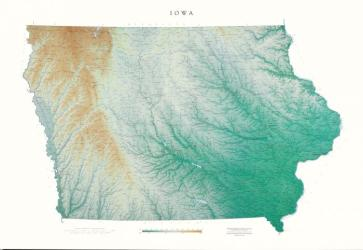 Iowa, Physical, Laminated Wall Map by Raven Maps