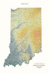 Indiana, Physical, Laminated Wall Map by Raven Maps