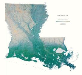 Louisiana, Physical Wall Map by Raven Maps