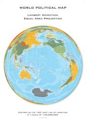 World Political Hexagons, Lambert Azimuthal Equal Area projection centered on 165 West by Oxford Cartographers