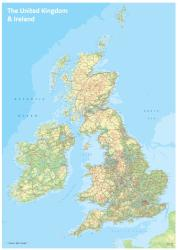 UK and Ireland Topographic Wall Map by Oxford Cartographers