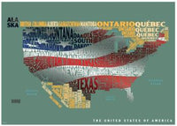 Graphic Map USA - flag by Oxford Cartographers