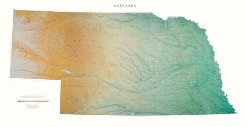 Nebraska, Physical Wall Map by Raven Maps