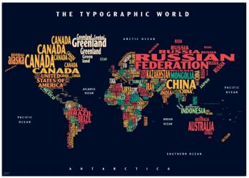 Graphic Map World - colours, black background by Oxford Cartographers