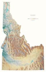 Idaho, Physical, Laminated Wall Map by Raven Maps