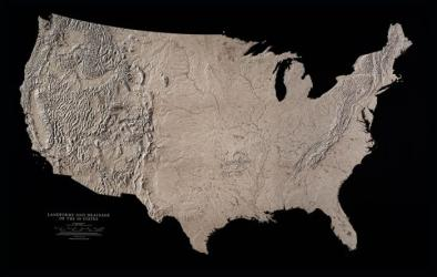 USA, Landforms & Drainage of 48 States, Black & White, Laminated Wall Map by Raven Maps