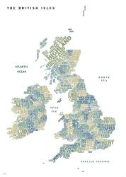 Graphic Map UK - counties, white background by Oxford Cartographers
