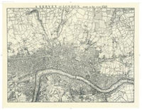 Historic Map of London in 1745, Black and White by Oxford Cartographers