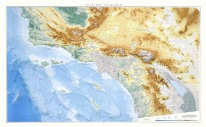 California, Southern, Physical Wall Map by Raven Maps