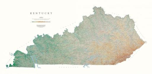 Kentucky, Physical, Laminated Wall Map by Raven Maps