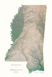 Mississippi, Physical, Laminated Wall Map by Raven Maps