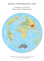 World Topographic Hexagons, Lambert Azimuthal Equal Area projection centered on 15 East by Oxford Cartographers