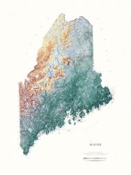 Maine, Physical, Laminated Wall Map by Raven Maps