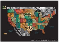 Graphic Map USA - colours, black background by Oxford Cartographers