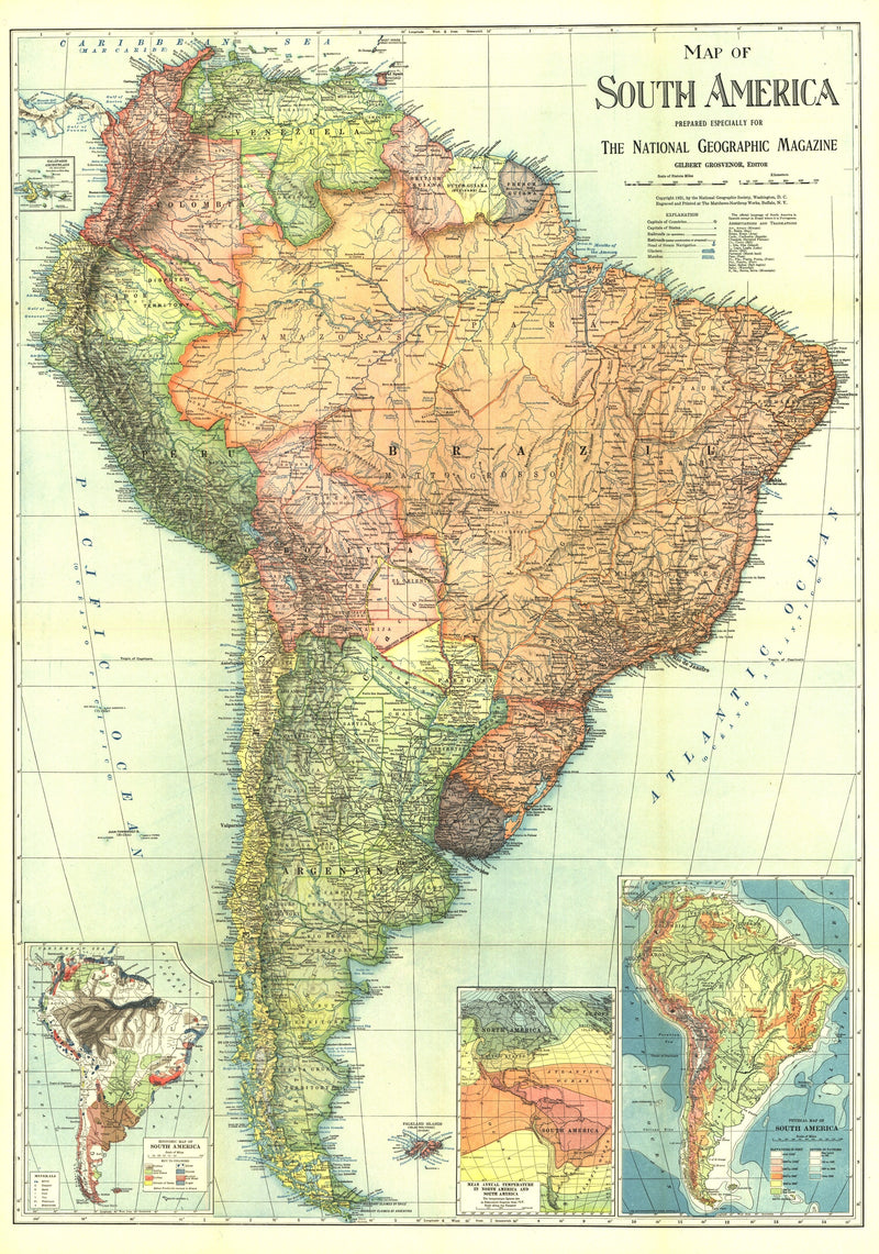 South America Map 1921
