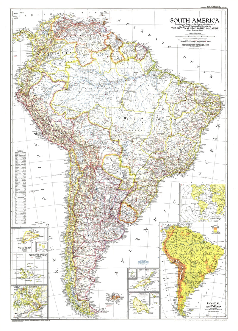 South America Map 1950