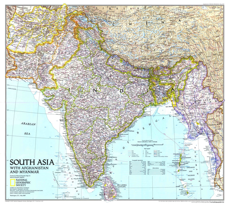 South Asia With Afghanistan And Myanmar Map 1997