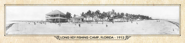 Historic Panorama of Long Key Fishing Camp, Florida, 1912