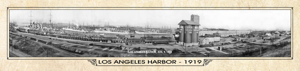 Historic Panorama of Los Angeles, CA, Harbor, 1919