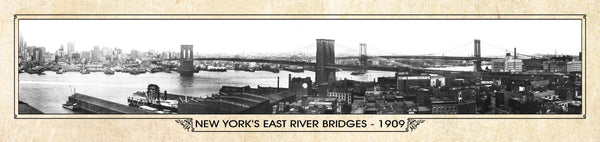 Historic Panorama of New York's East River Bridges 1909