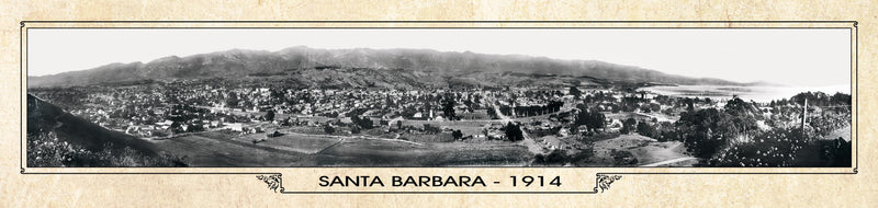 Historic Panorama of Santa Barbara, CA 1914