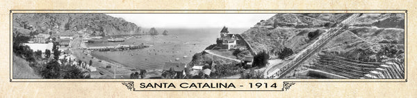 Historic Panorama of Santa Catalina, CA, 1914