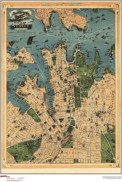 Sydney Antique Wall Map