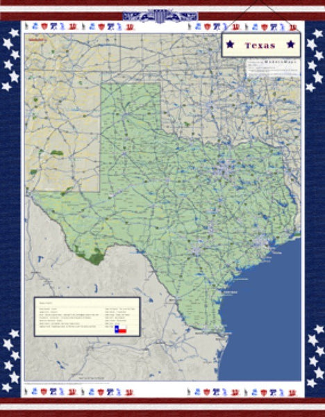 Texas Americana Wall Map