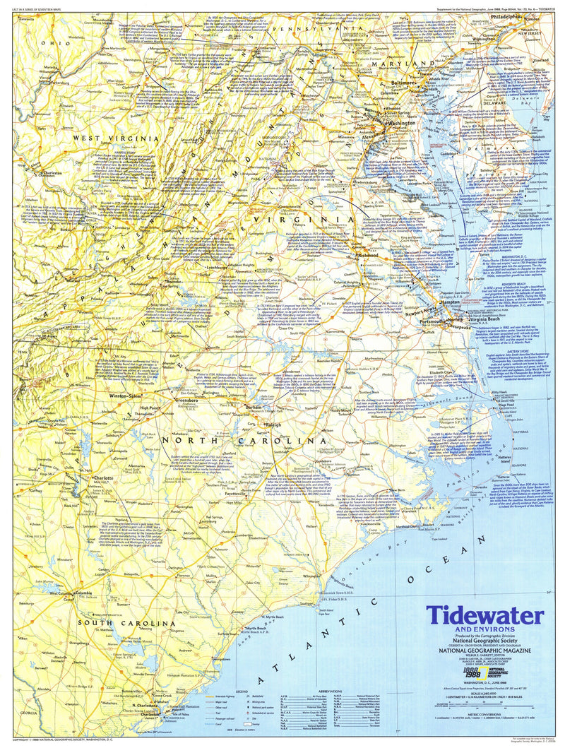 Tidewater And Environs Map 1988 Side 1