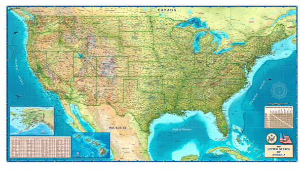 Tipton's USA Wall Map, Physical