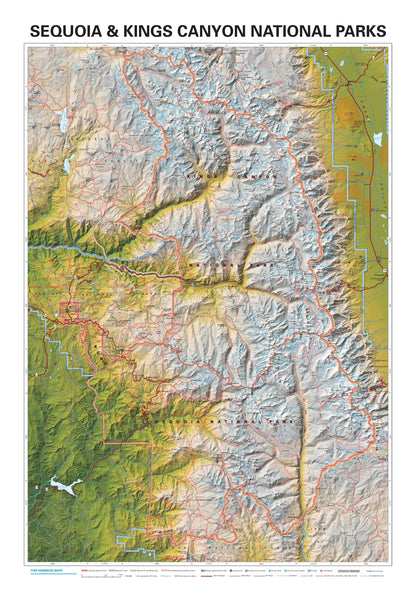 Sequoia and Kings Canyon National Parks Wall Map