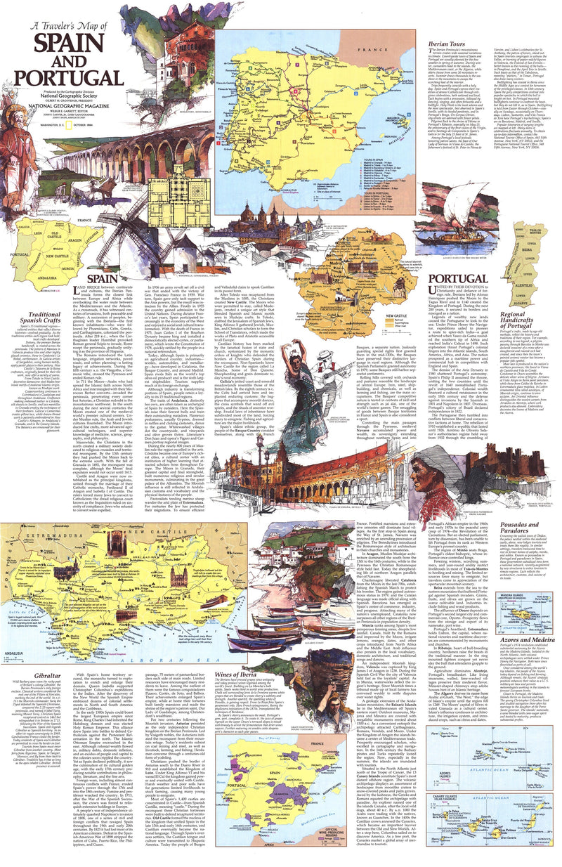 Travelers Map Of Spain And Portugal Map 1984 Side 2